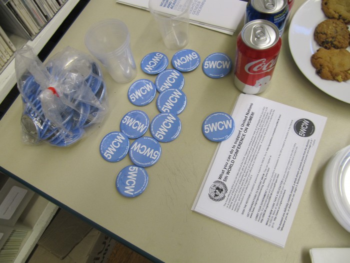 Buttons and flyers for the 5th World Conference on Women