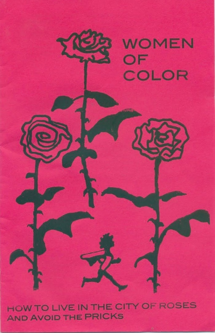 "Pink Zine Cover titled ""Women of Color: How to Live in the City of Roses and Avoid the Pricks,"" with drawings of roses"