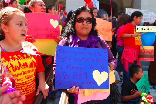 Protesters at a rally for domestic workers rights