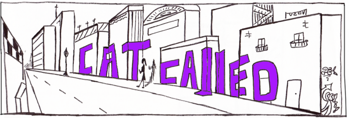 CATCALLED logo (sketch of letters on top on buildings at street level)