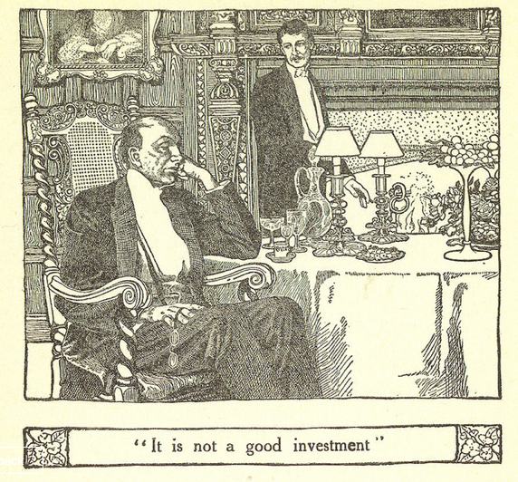 """""""It is not a good investment,"""" Illustration by Elizabeth Shippen Green, from the MANSION by Henry Van Dyke, published by Harper&Brothers Publishers New York and London (1911), Retrieved from Flickr.com"""