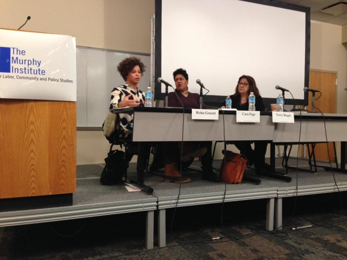 Gender, Sexuality, HIV and Reproductive Justice panel with Reina Gossett, Cara Page, and Terry Boggis. Photo by @MargotDWeiss via Twitter.