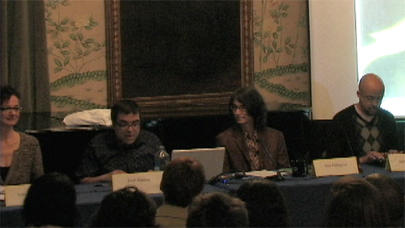 Jose Muñoz in conversation with Lauren Berlant, Ann Pellegrini, and Tavia Nyong'o at the Public Feelings Salon at BCRW in 2011.